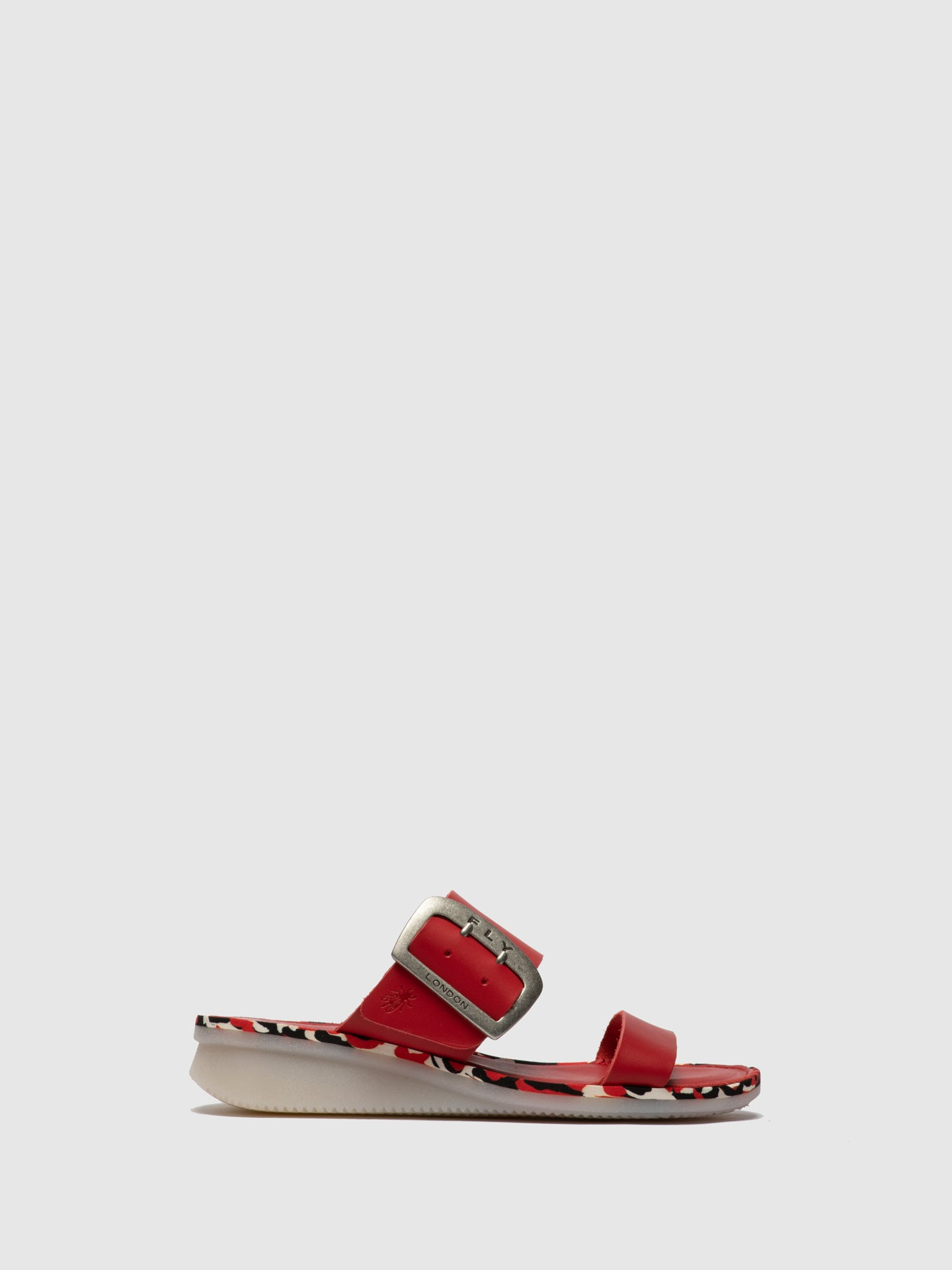 Fly London Red Appliqués Mules