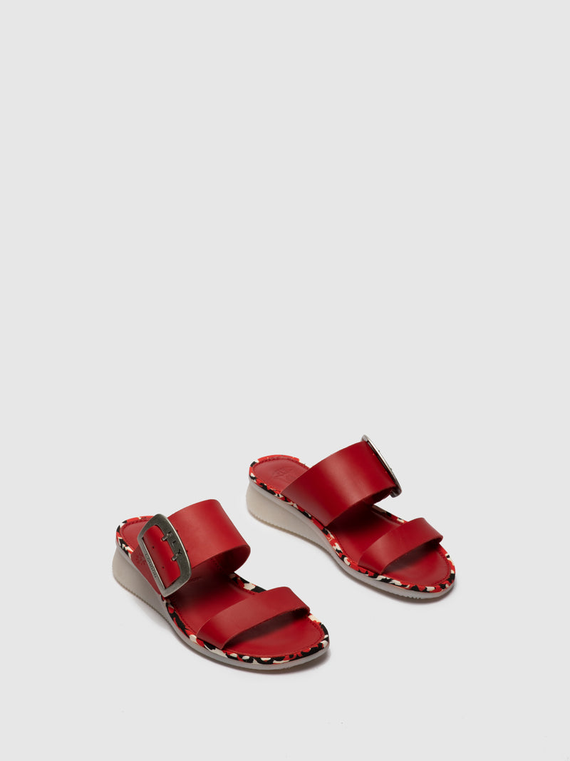 Red Appliqués Mules