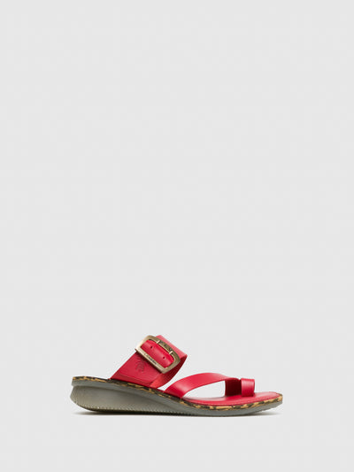 Fly London Red Round Toe Mules