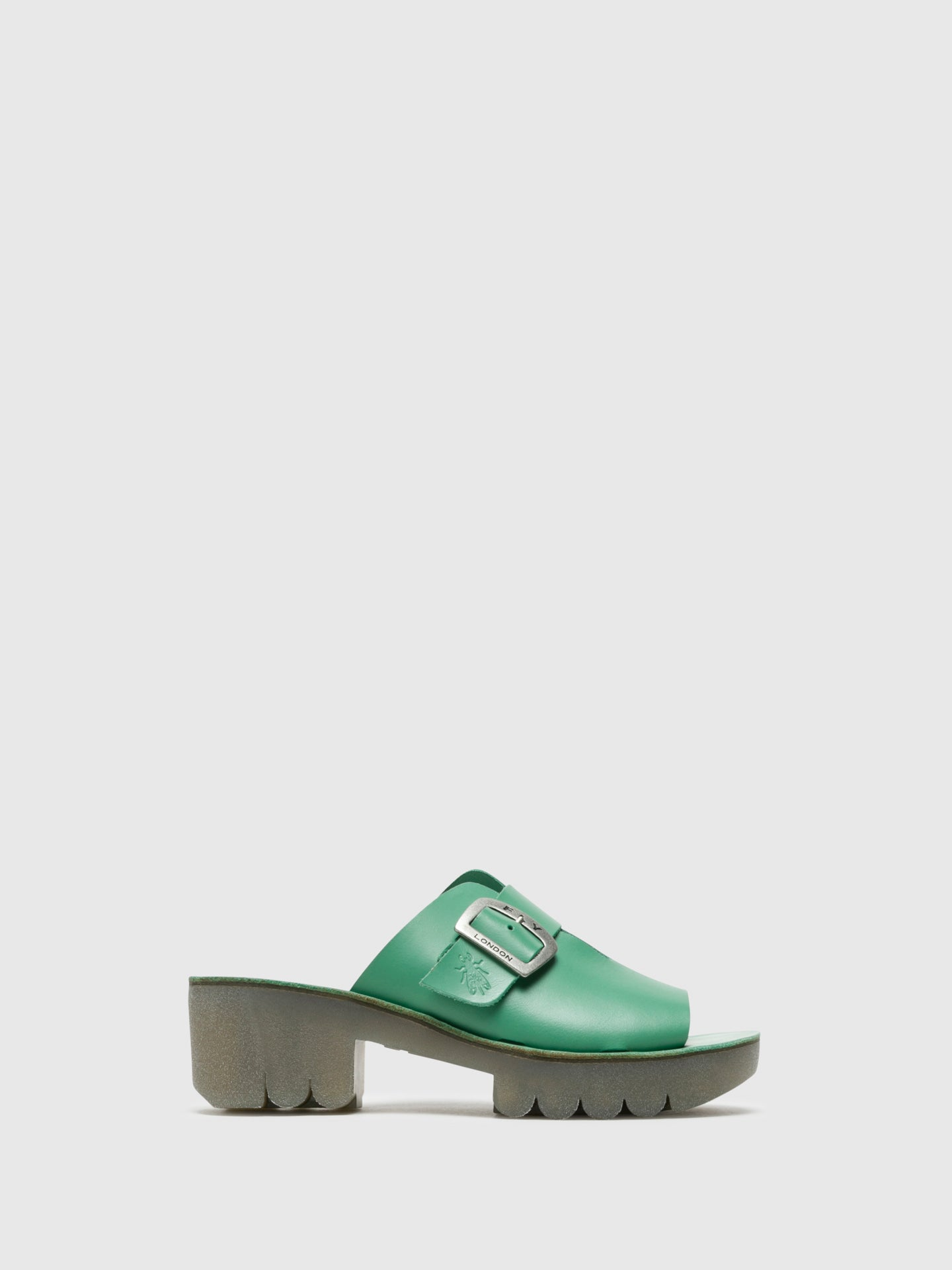 Fly London Green Chunky Heel Mules