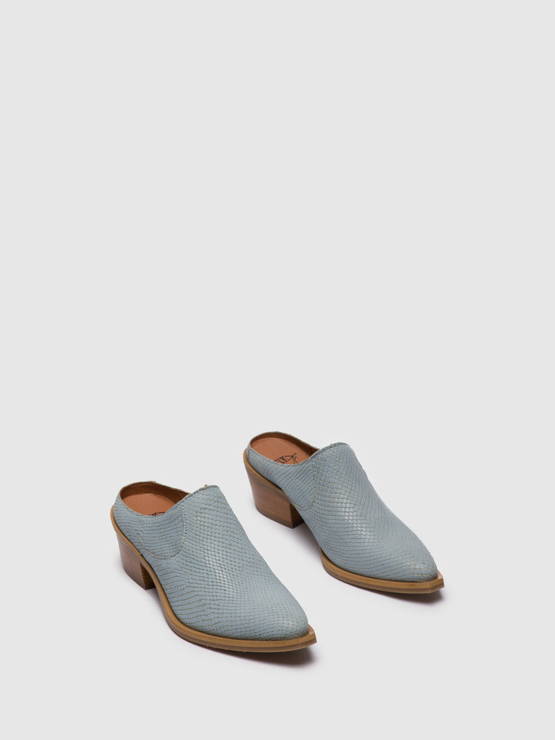 Blue Closed Mules