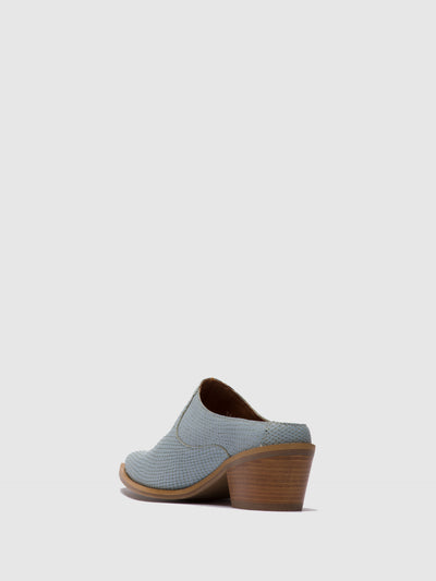 Fly London Blue Closed Mules