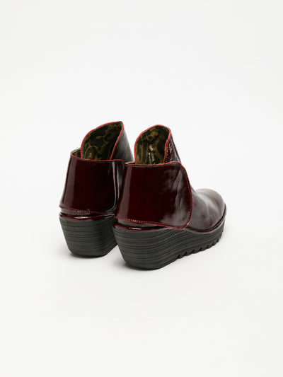 Fly London DarkRed Velcro Ankle Boots