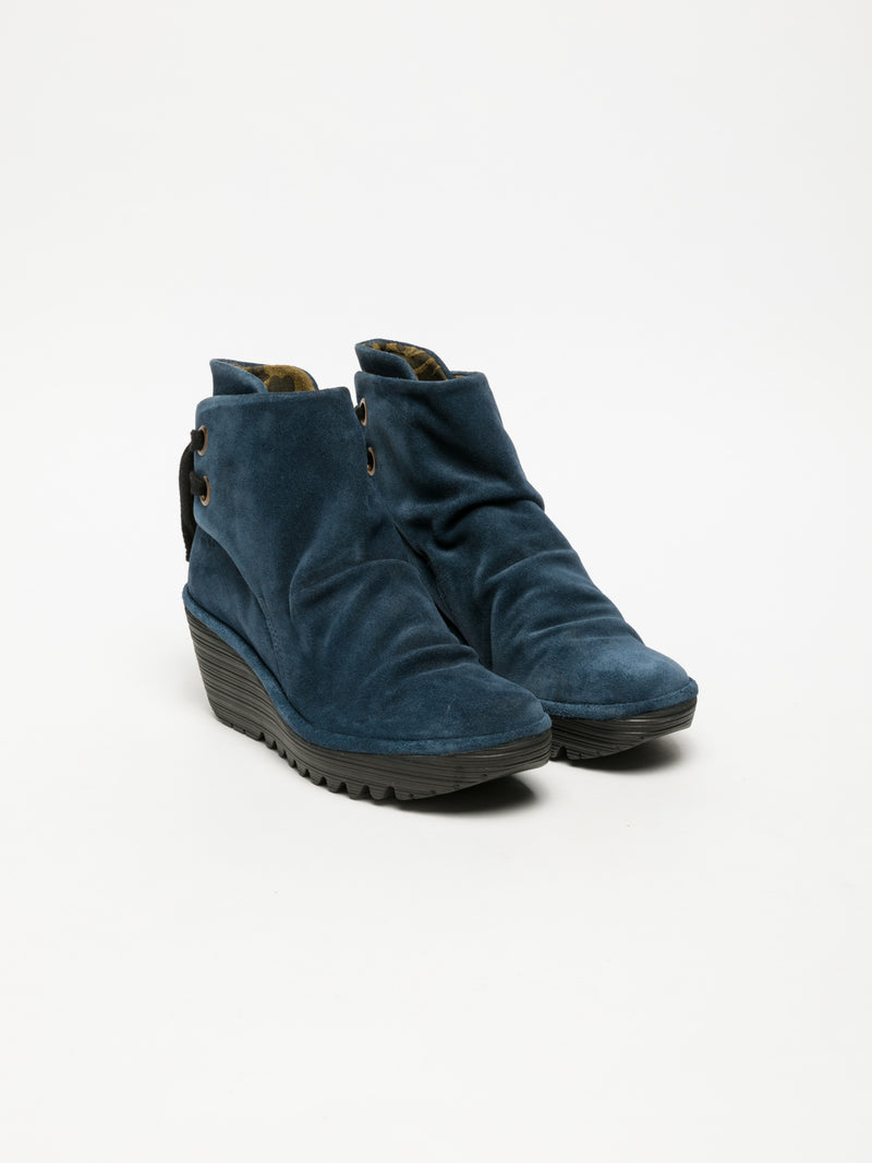Navy Wedge Ankle Boots