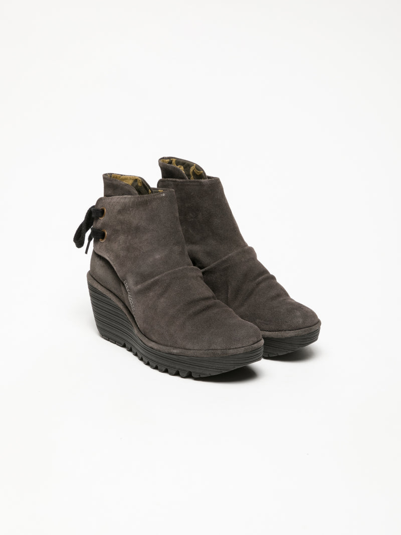 DarkGray Wedge Ankle Boots