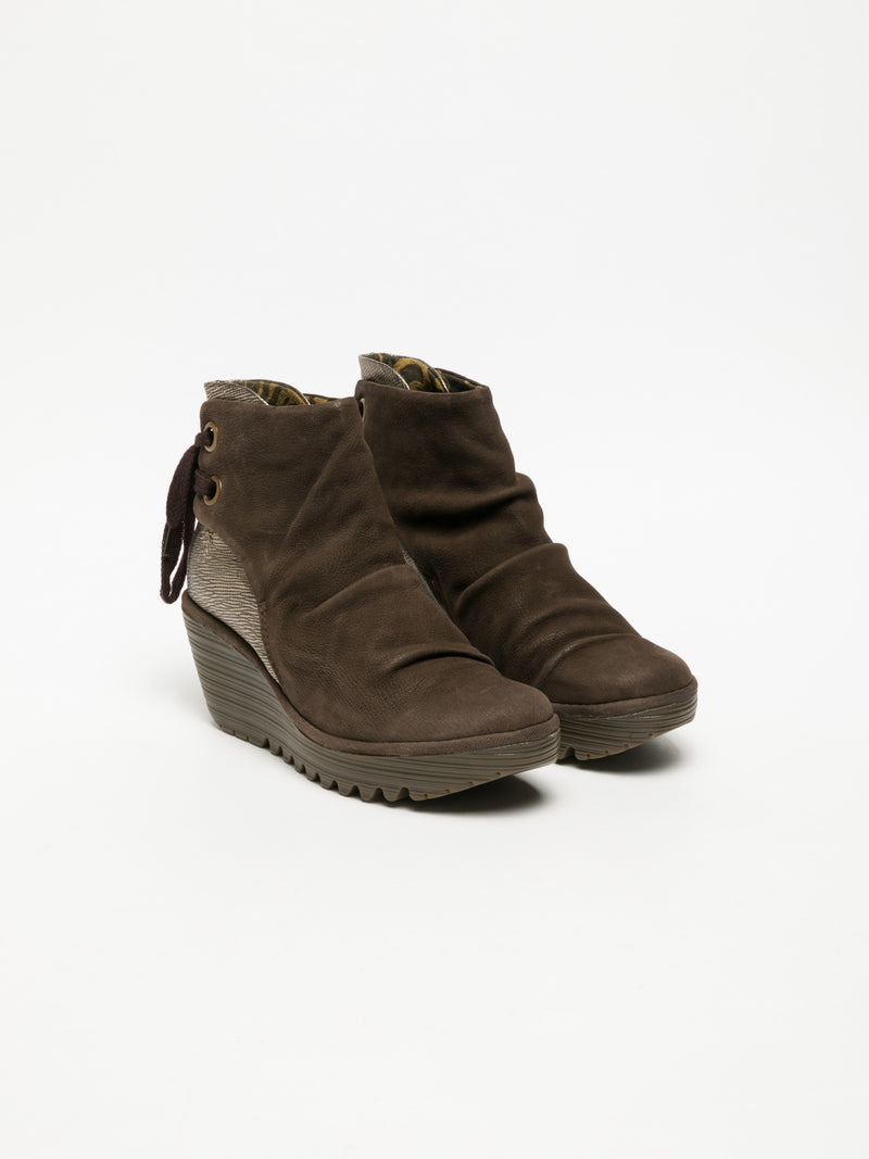 Fly London SandyBrown Wedge Ankle Boots