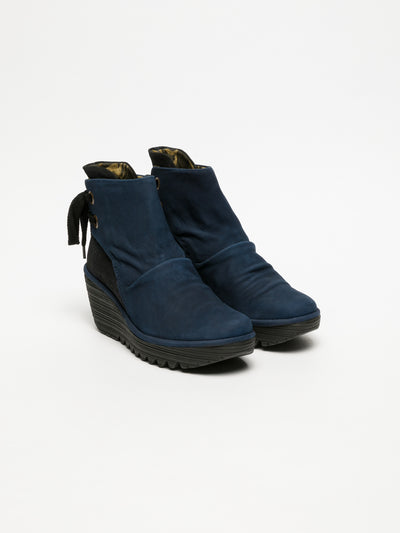Fly London DarkBlue Wedge Ankle Boots