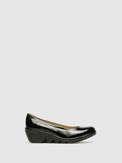 Fly London Gloss Black Wedge Ballerinas