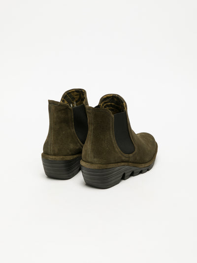 Fly London Khaki Chelsea Ankle Boots