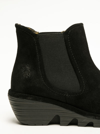 Fly London Coal Black Chelsea Ankle Boots