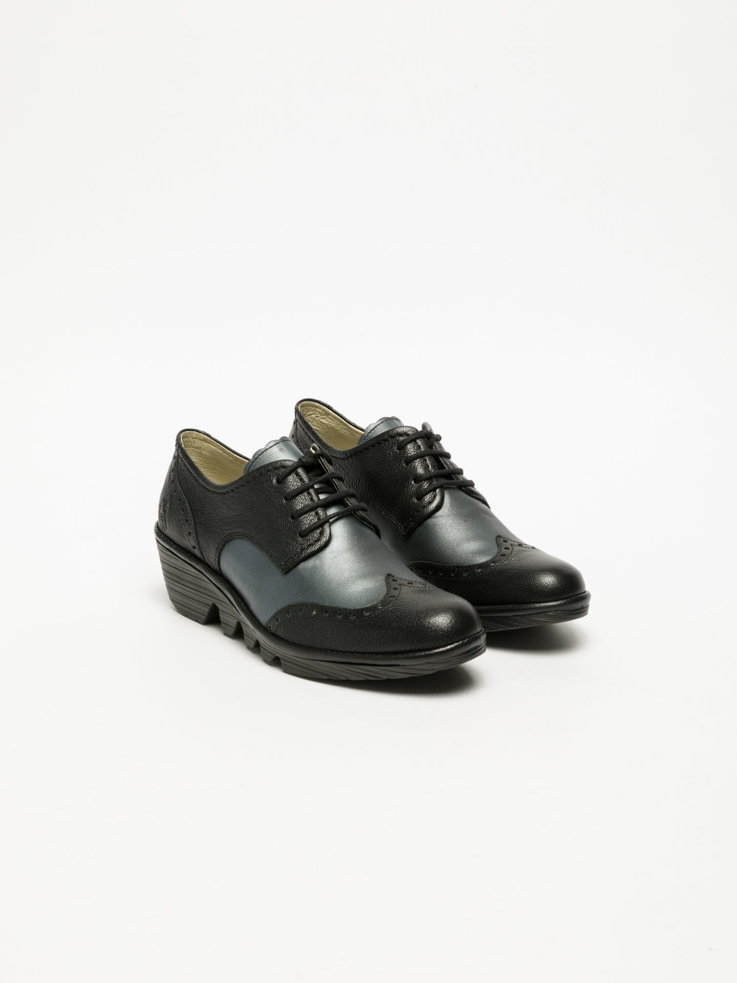 Fly London Matte Black Derby Shoes