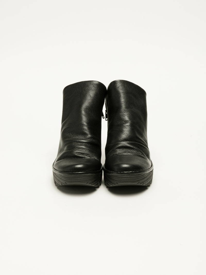 Coal Black Zip Up Ankle Boots