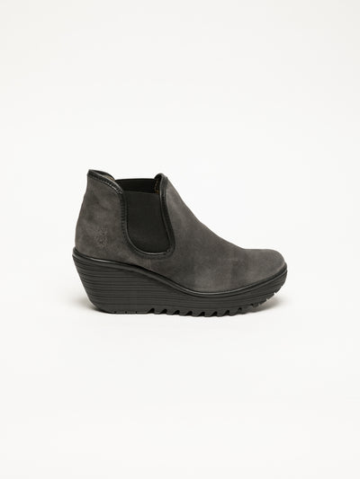 Fly London Gray Wedge Ankle Boots