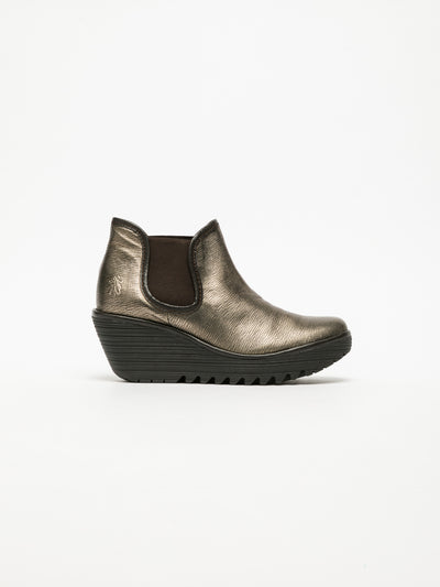 Fly London Gold Wedge Ankle Boots