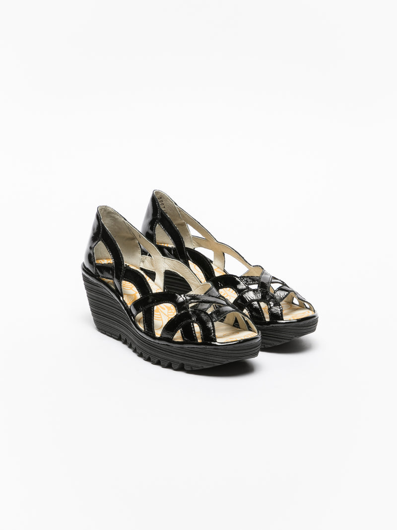 Fly London Gloss Black Wedge Sandals