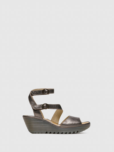 Fly London DarkGray Ankle Strap Sandals