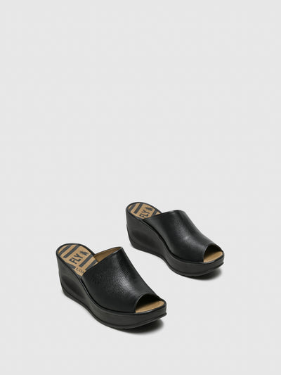 Fly London Black Wedge Mules