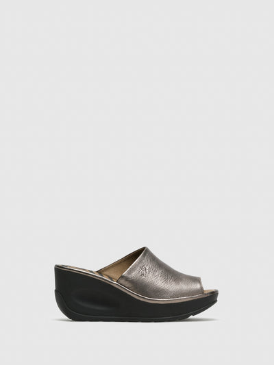 Fly London Silver Wedge Mules