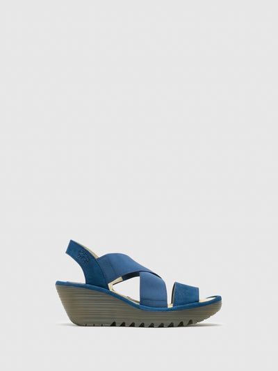 Fly London Blue Strappy Sandals