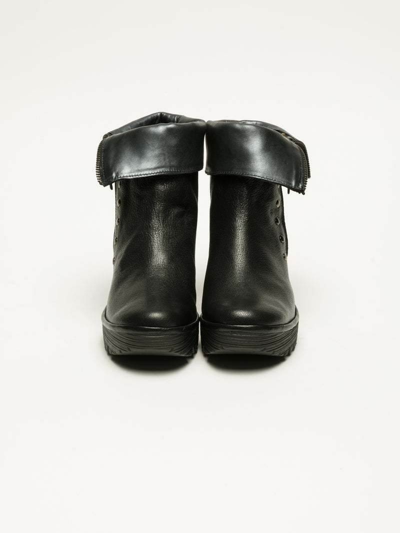 Black Zip Up Ankle Boots