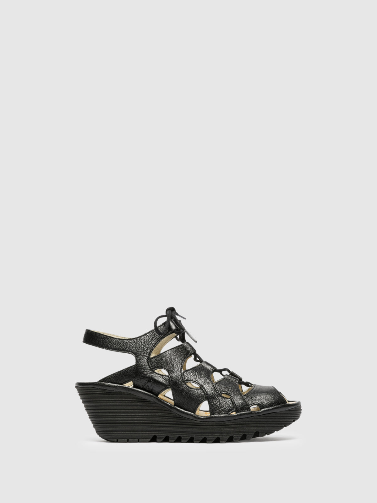 Fly London Black Gladiator Sandals