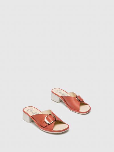 Fly London Pink Chunky Heel Mules