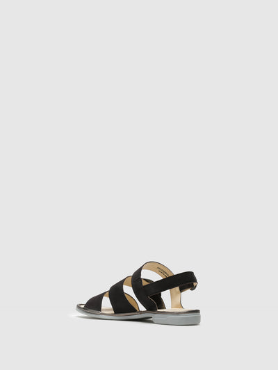Fly London Black Strappy Sandals