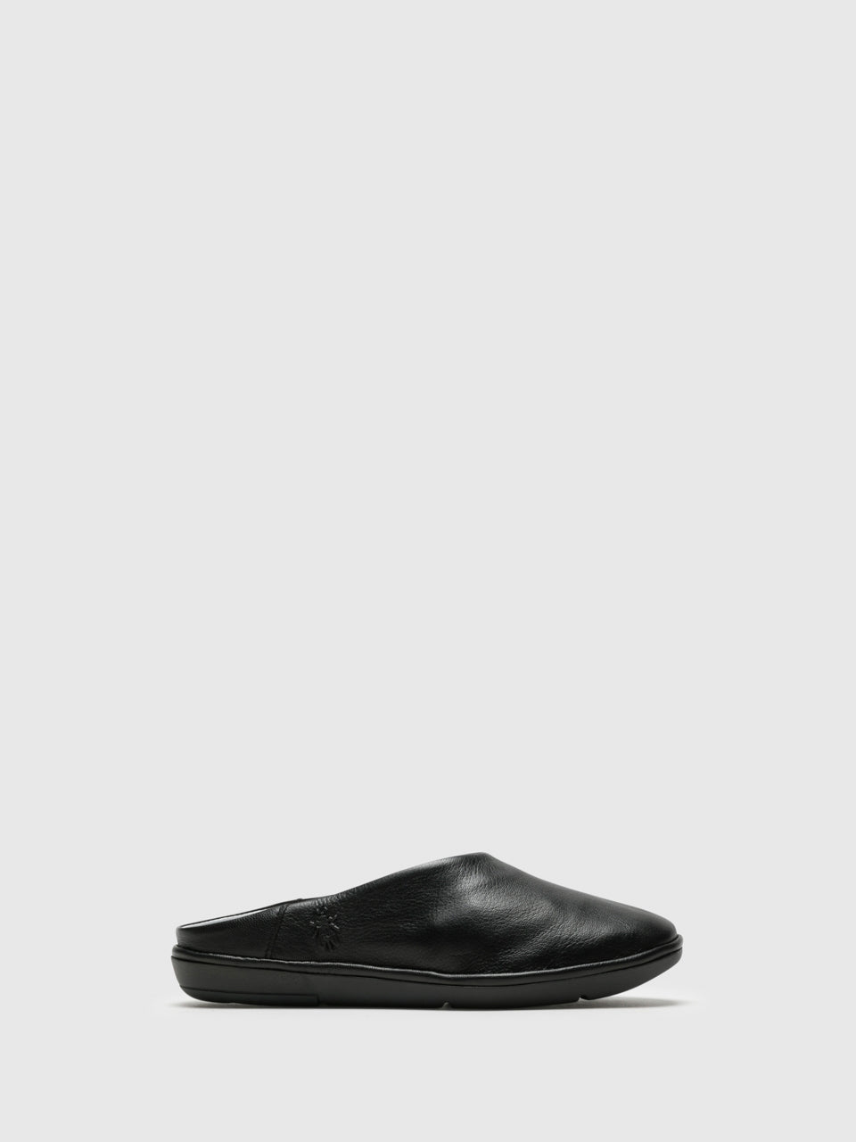 Fly London Black Round Toe Mules