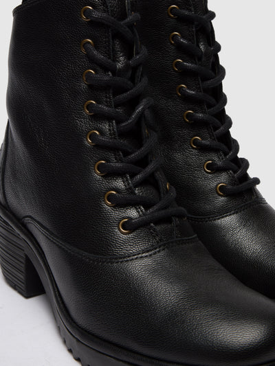 Fly London Coal Black Lace-up Ankle Boots