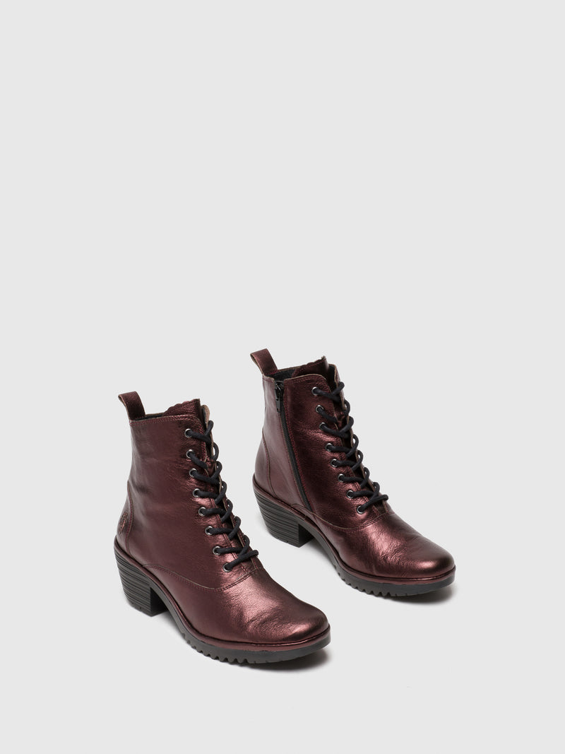 DarkRed Lace-up Ankle Boots