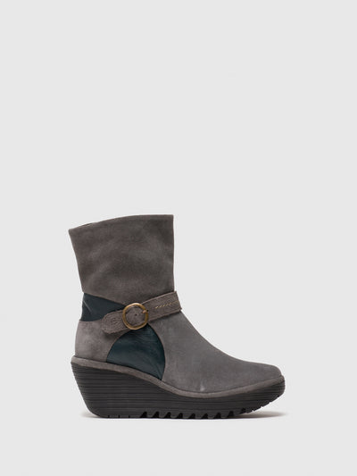 Fly London Gray Zip Up Ankle Boots