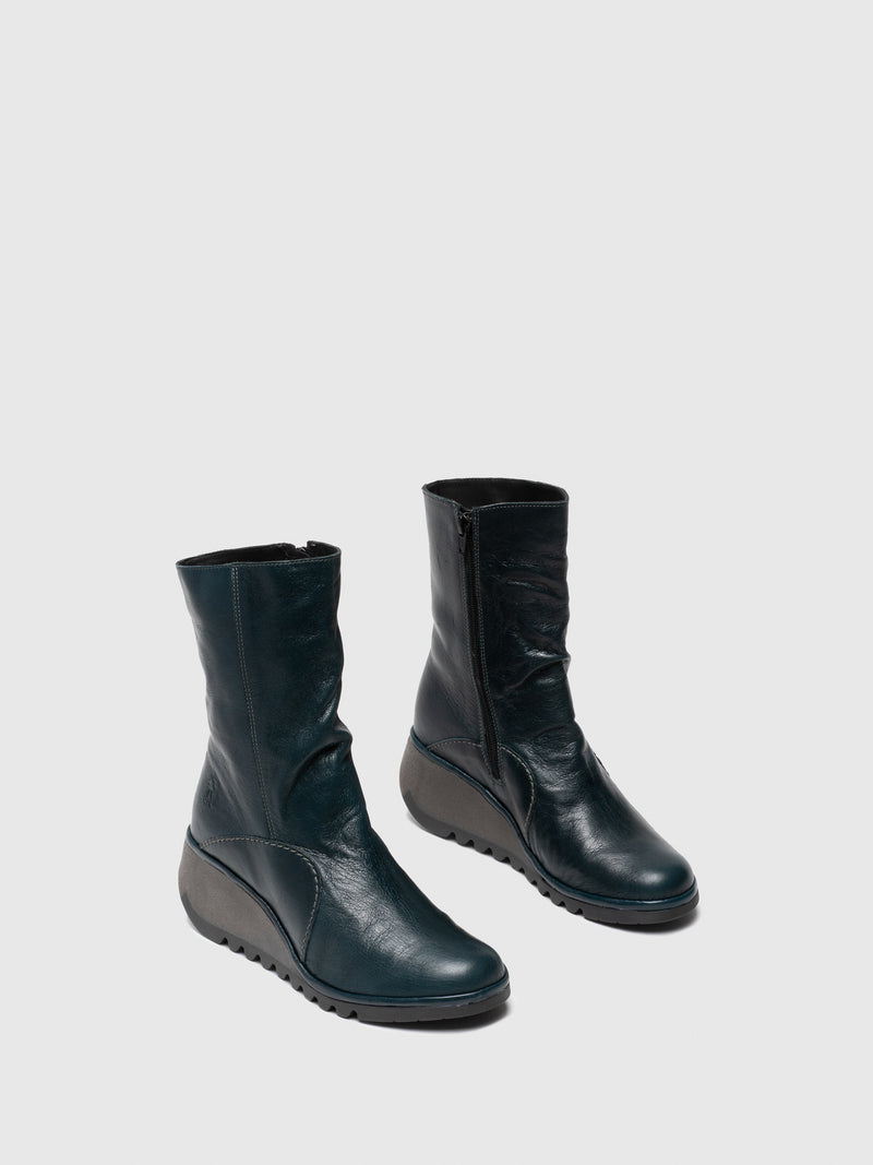 Fly London DarkGreen Zip Up Ankle Boots