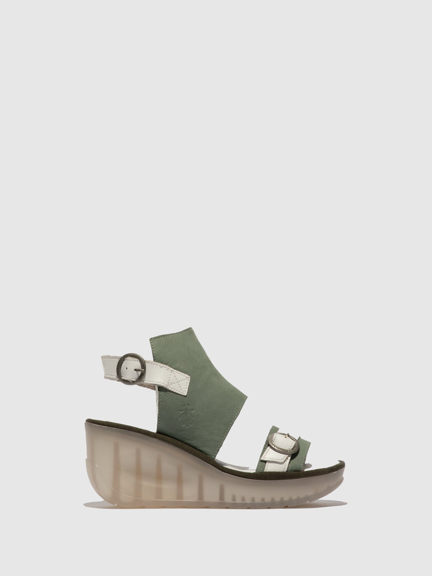Fly London Green Ankle Strap Sandals
