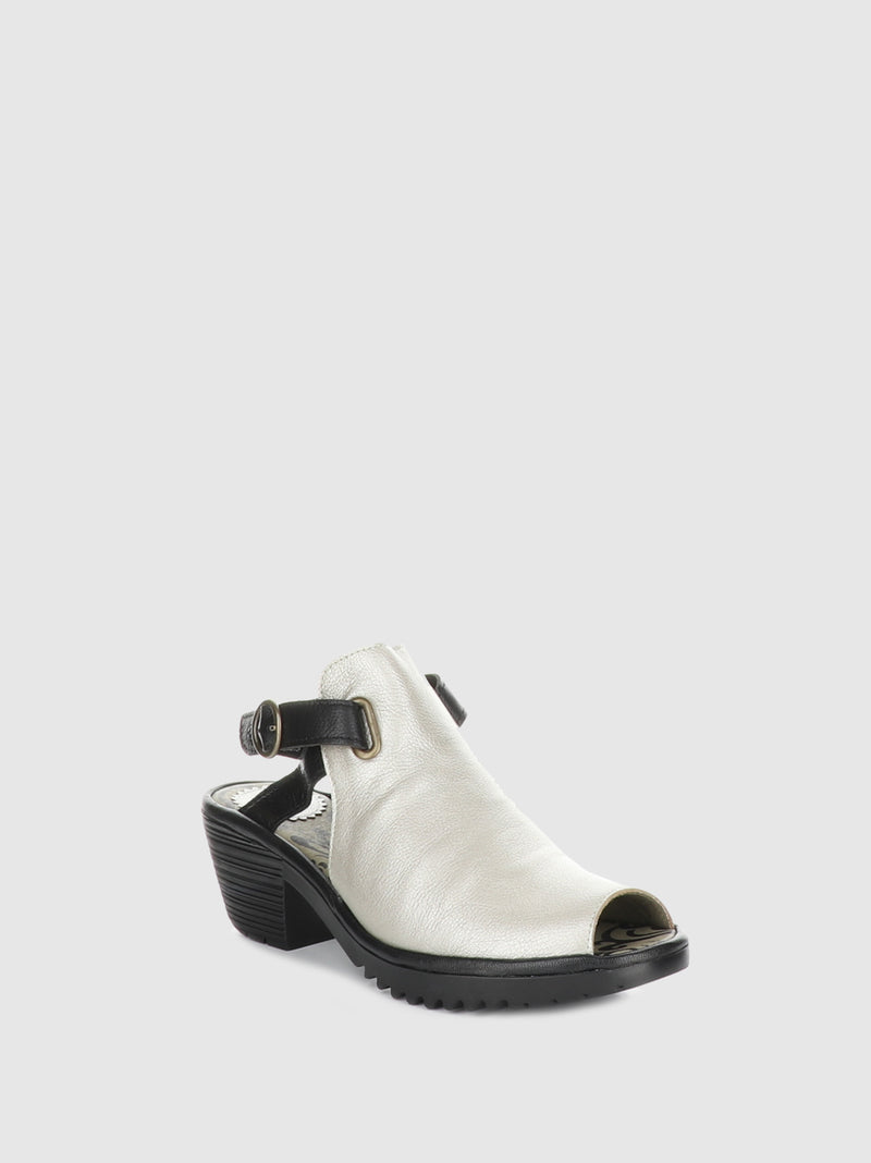 Fly London Silver Black Sling-Back Sandals