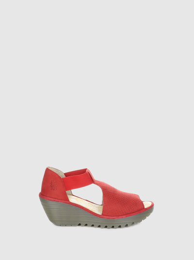 Fly London Red Wedge Sandals