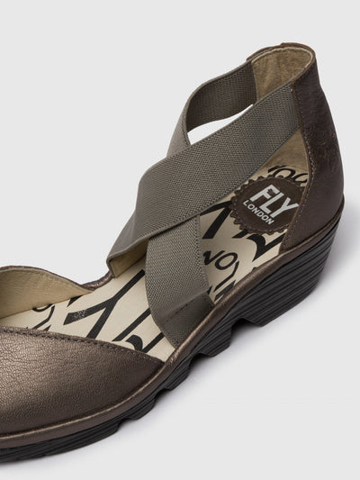 Fly London Gray Crossover Sandals