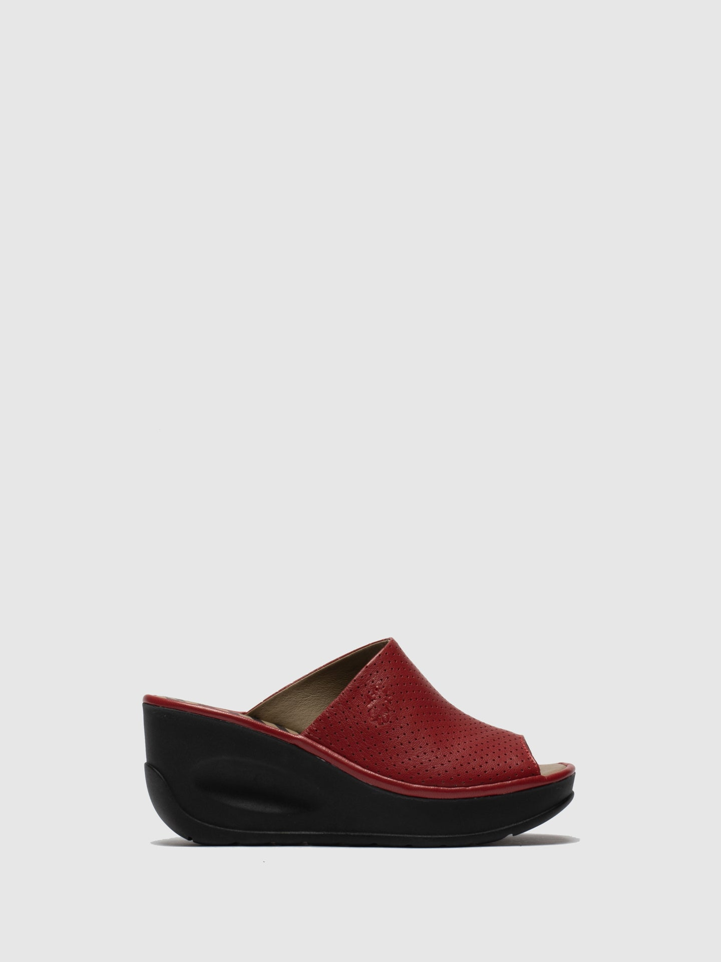 Fly London Red Wedge Mules