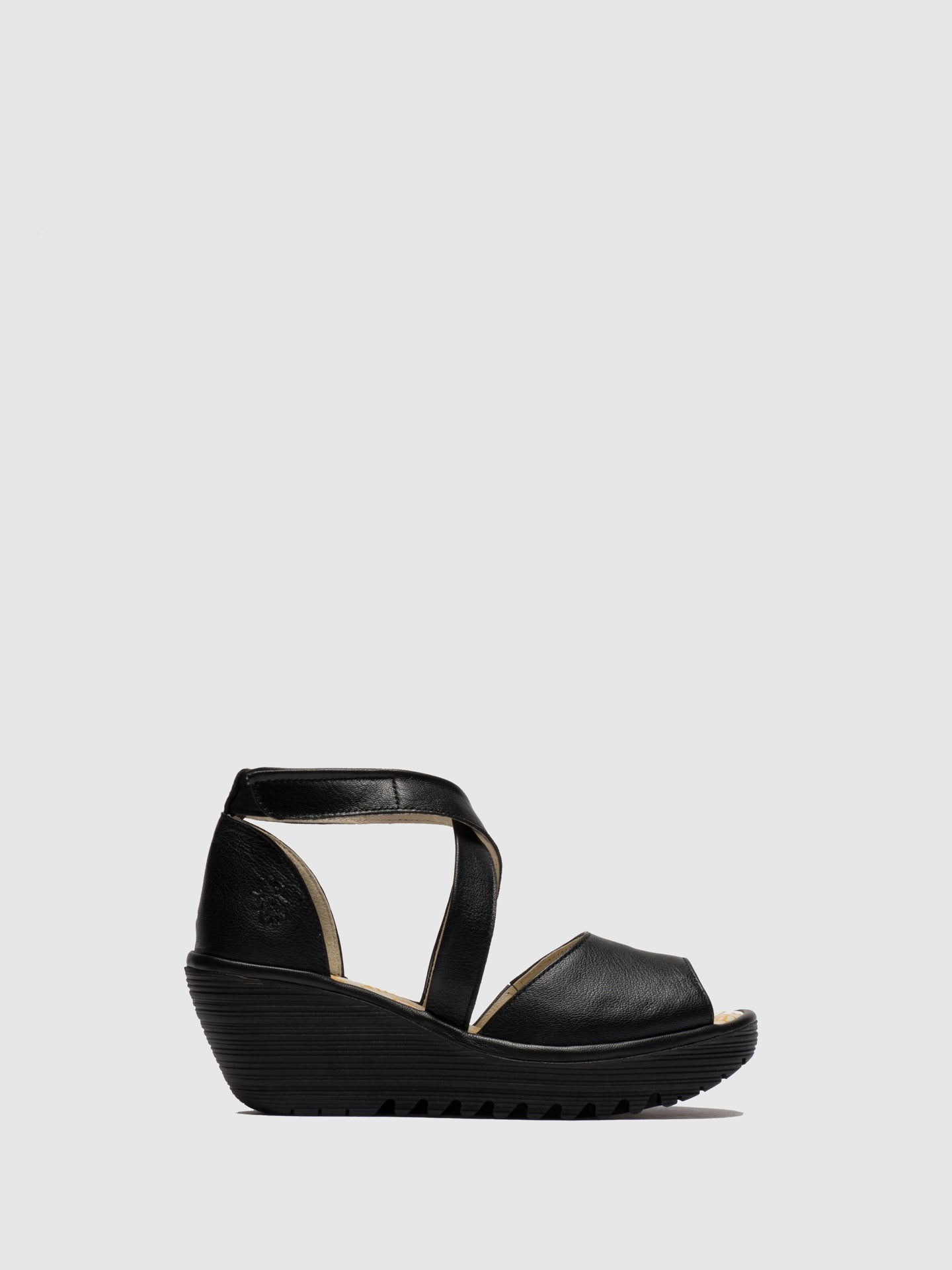 Fly London Black Open Toe Sandals