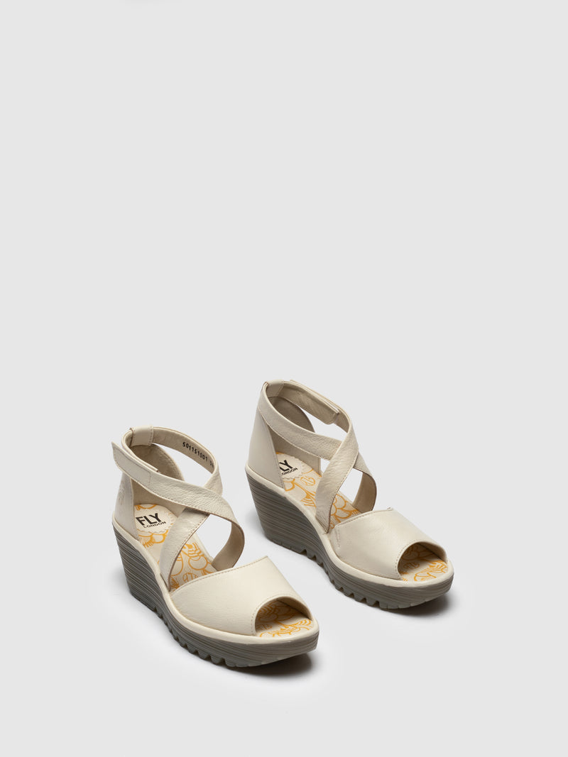 Fly London White Open Toe Sandals