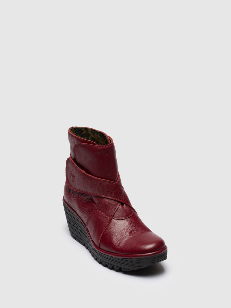 Red Velcro Ankle Boots