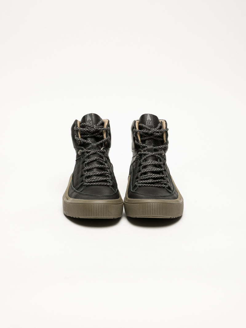 Fly London Black Hi-Top Sneakers