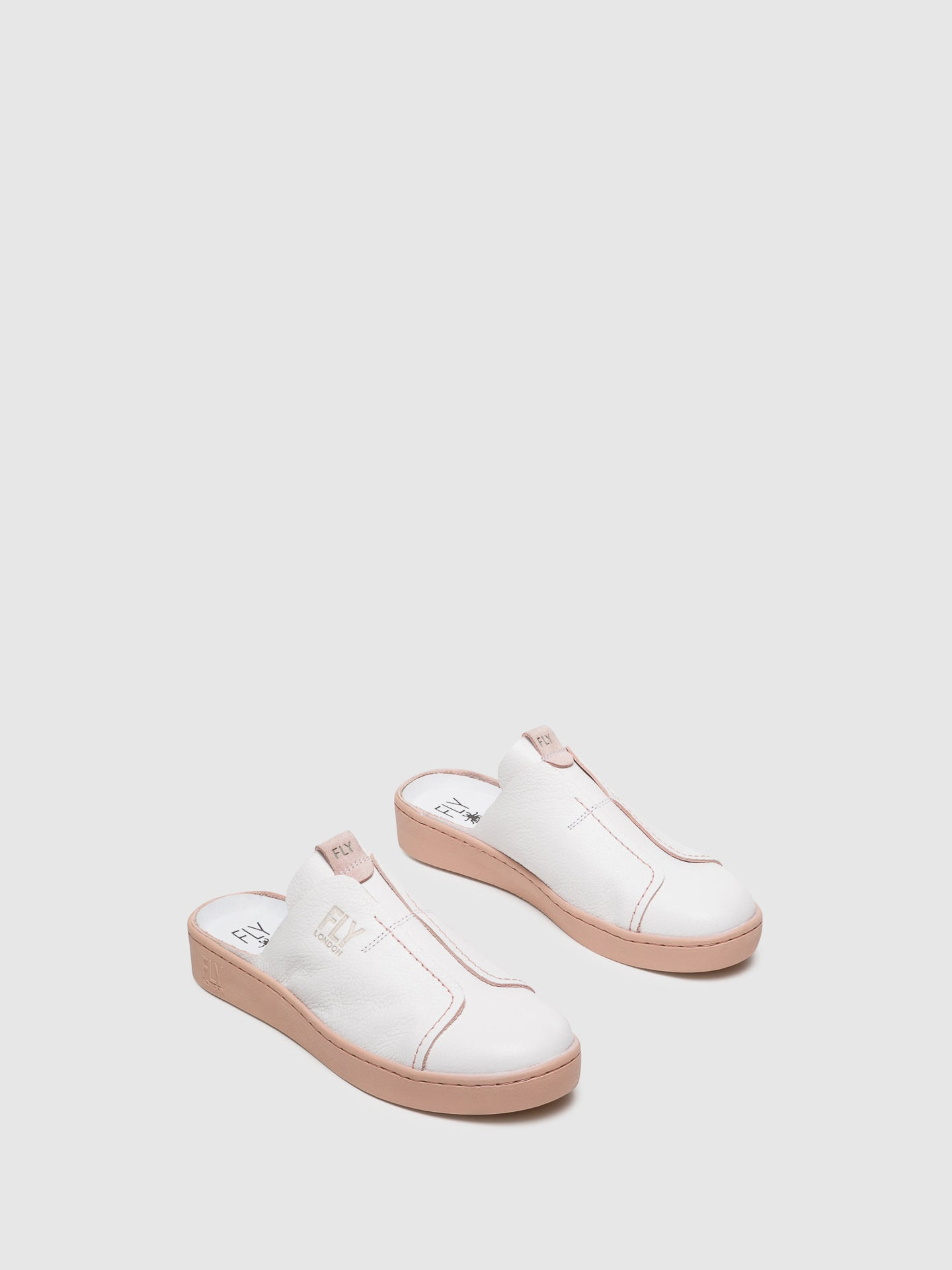 Fly London White Closed Mules