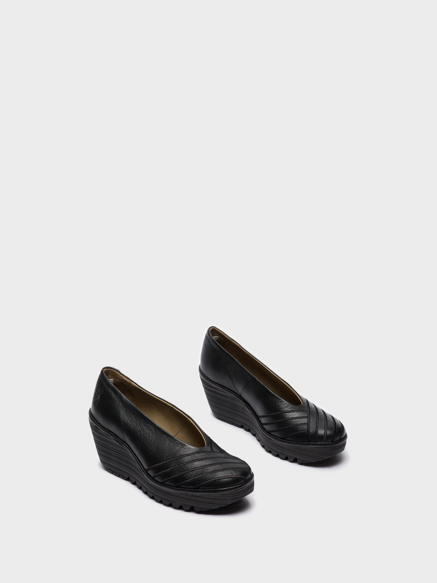 Fly London Black Round Toe Pumps