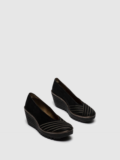 Fly London Brown Black Round Toe Pumps