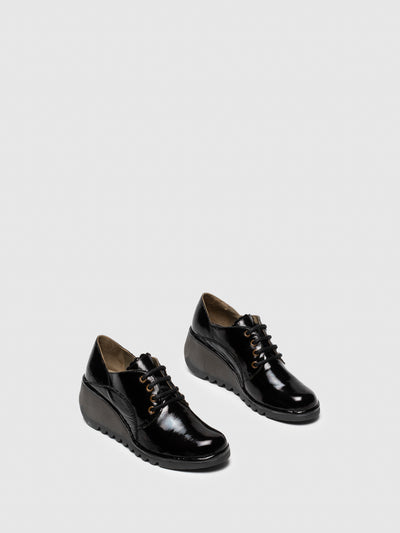 Fly London Coal Black Lace-up Shoes