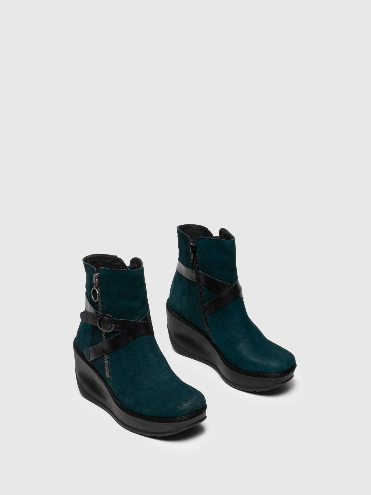 Fly London Blue Zip Up Ankle Boots