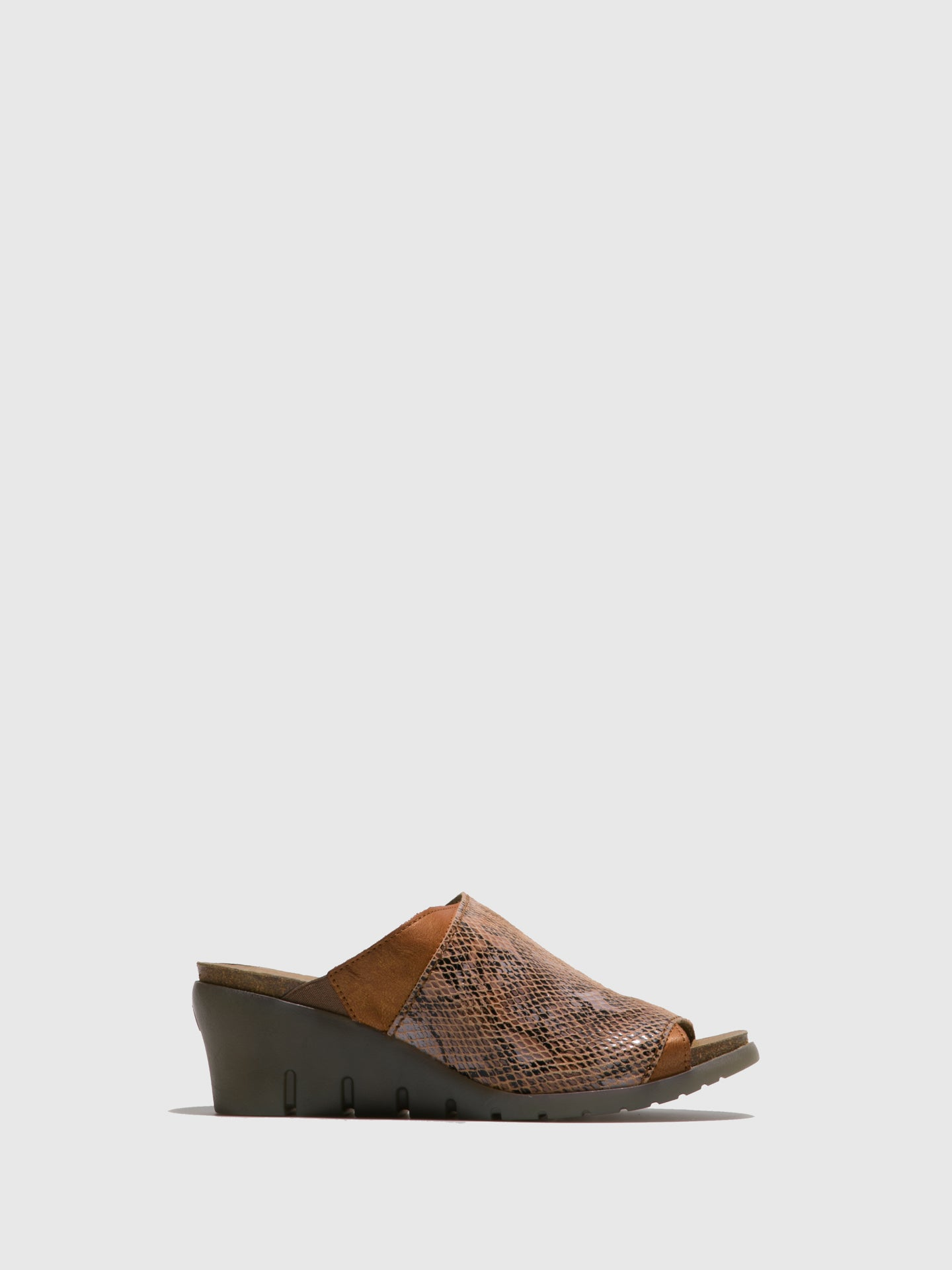 Fly London Brown Open Toe Mules