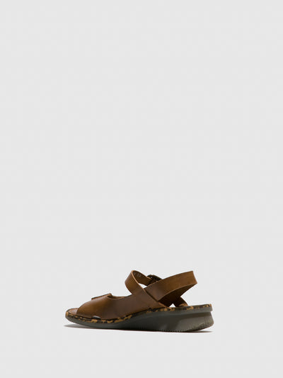 Fly London Brown Sling-Back Sandals