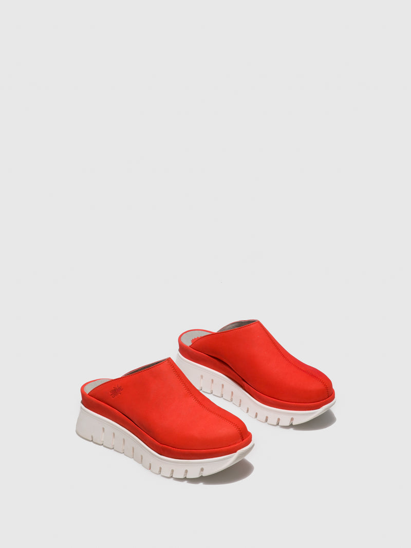 Red Closed Mules