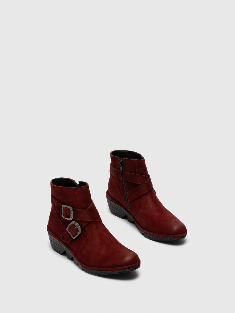 Fly London Red Buckle Ankle Boots